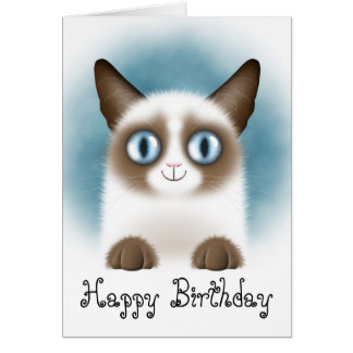 Curious Siamese Kitten Happy Birthday Card
