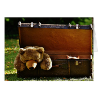 Curious Suitcase Kitten with Stuffed Teddy Card