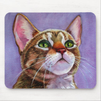 Curious Tabby Cat in Watercolor Mouse Pad
