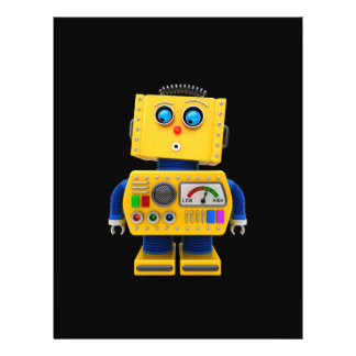 Curious toy robot looking down flyer design
