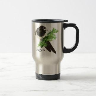 Curious watercolor Magpie Bird Nature Art Travel Mug