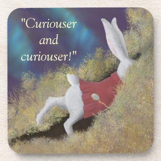 Curiouser White Rabbit Wonderland Cork Coaster