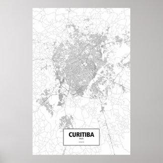 Curitiba, Brazil (black on white) Poster