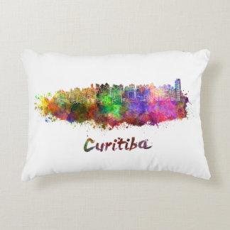 Curitiba skyline in watercolor decorative pillow