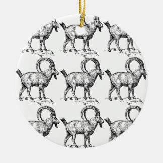 curl horn ibex ceramic ornament
