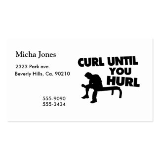 Curl Until You Hurl Business Card