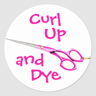 Curl, Up, and, Dye Round Sticker