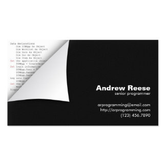 Curled Corner with Program Coding - Visual Basic Pack Of Standard Business Cards