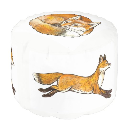 Curled Fox Design Round Pouf Footrest Original Art