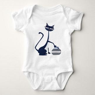 Curling cat baby bodysuit