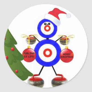 Curling Christmas Cartoon Round Sticker