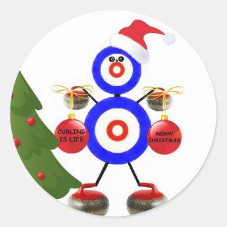 Curling Christmas Cartoon Round Stickers