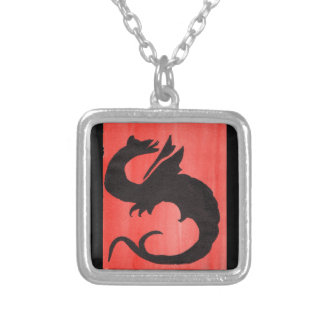 Curling Dragon Silver Plated Necklace