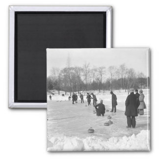 Curling in Central Park NYC Magnet