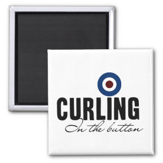 Curling: In The Button Square Magnet