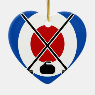 Curling Is Cool Day - Appreciation Day Ceramic Heart Ornament