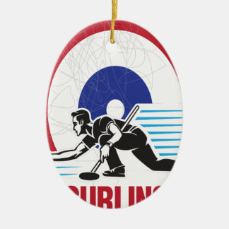 Curling Is Cool Day - Appreciation Day Ceramic Oval Ornament