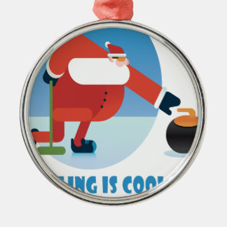 Curling Is Cool Day - Appreciation Day Silver-Colored Round Ornament