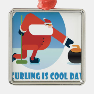Curling Is Cool Day - Appreciation Day Silver-Colored Square Ornament