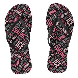 Curling Lingo Flip Flops - Black and Pink