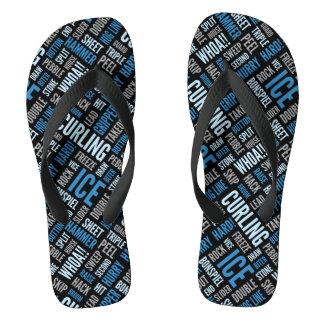 Curling Lingo Flip Flops - Blue and Black