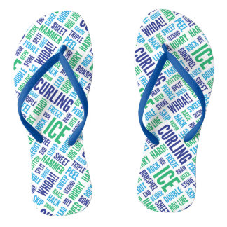 Curling Lingo Flip Flops - Blue and Green