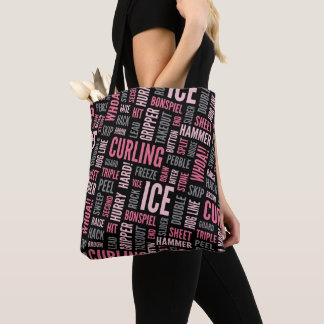 Curling Lingo Tote Bag - Pink and Black