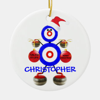 Curling Player Christmas Round Ceramic Ornament