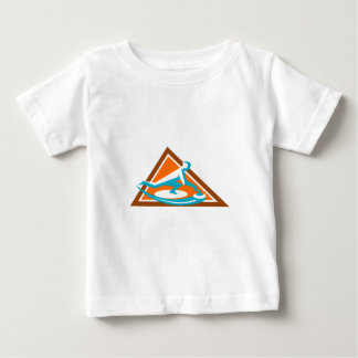 Curling Player Sliding Stone Triangle Icon Baby T-Shirt