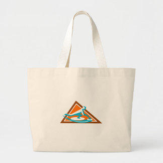 Curling Player Sliding Stone Triangle Icon Large Tote Bag