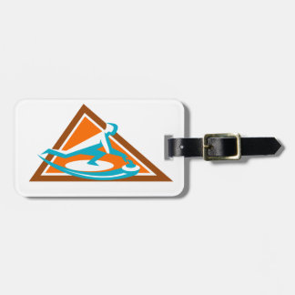 Curling Player Sliding Stone Triangle Icon Luggage Tag