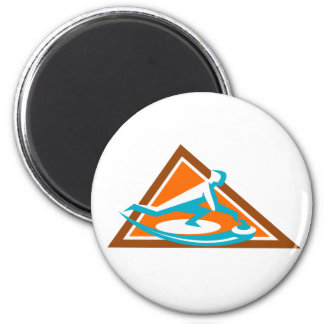 Curling Player Sliding Stone Triangle Icon Magnet
