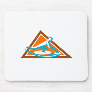 Curling Player Sliding Stone Triangle Icon Mouse Pad