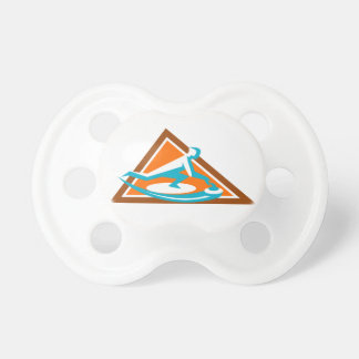 Curling Player Sliding Stone Triangle Icon Pacifier