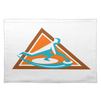 Curling Player Sliding Stone Triangle Icon Placemat