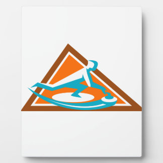 Curling Player Sliding Stone Triangle Icon Plaque