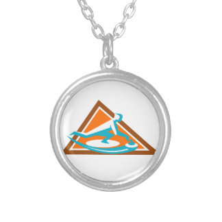 Curling Player Sliding Stone Triangle Icon Silver Plated Necklace