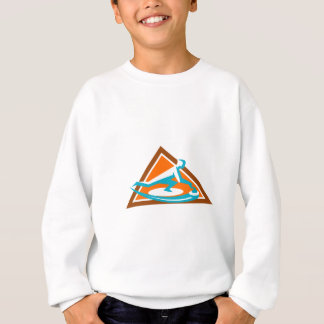 Curling Player Sliding Stone Triangle Icon Sweatshirt