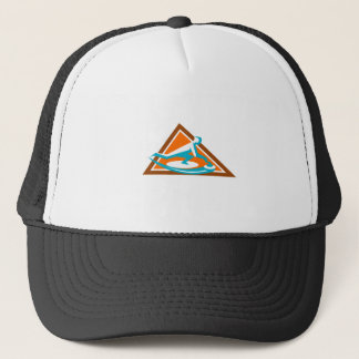 Curling Player Sliding Stone Triangle Icon Trucker Hat