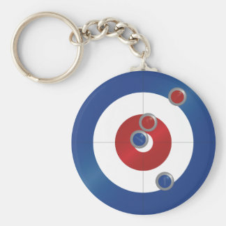 Curling rings basic round button keychain