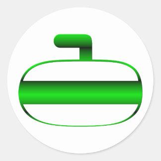 Curling rock round sticker