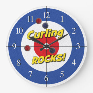 """Curling ROCKS!"" Curler's Clock - (Blue)"