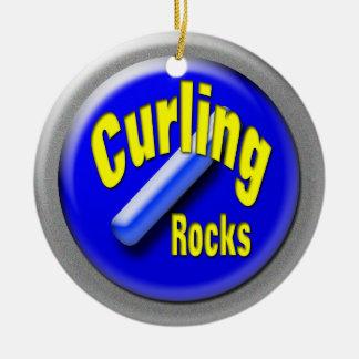 Curling stone ceramic ornament