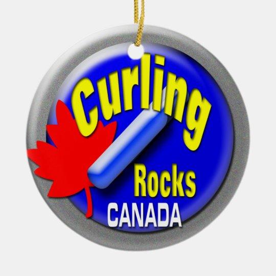 Curling stone round ceramic ornament
