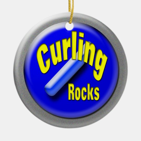 Curling stone round ceramic ornament