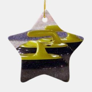 Curling stones ceramic ornament