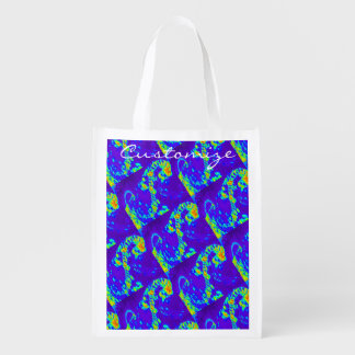 curling waves Thunder_Cove blue/green Reusable Grocery Bag