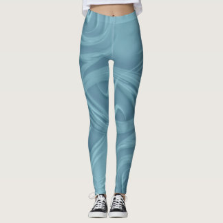 Curls Over Blue Artwork Leggings