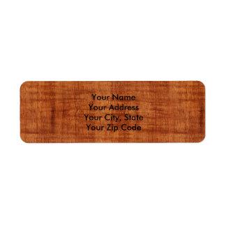 Curly Acacia Wood Grain Look Return Address Label
