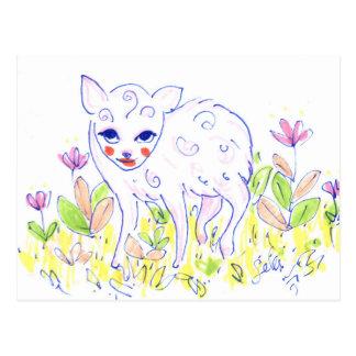 Curly Baby Deer - Spring Postcard